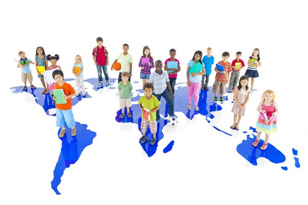 Group-of-Children-on-World-Map