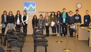 Isabella Pannu and the rest of the group at the end of a mock hearing at the BC Securities Commission.