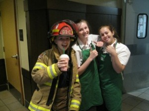 Time for a coffee break with fellow Academy students and Starbucks workers, Ireland and Mikayla.