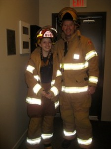 Sydney off to work with dad, Firefighter Steve.