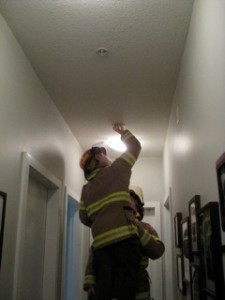 Smoke detector activated and reset.