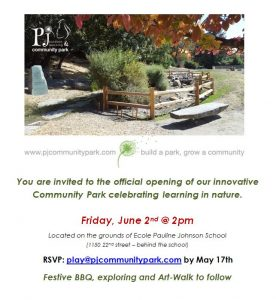 PJ Community Park Grand Opening Invitation