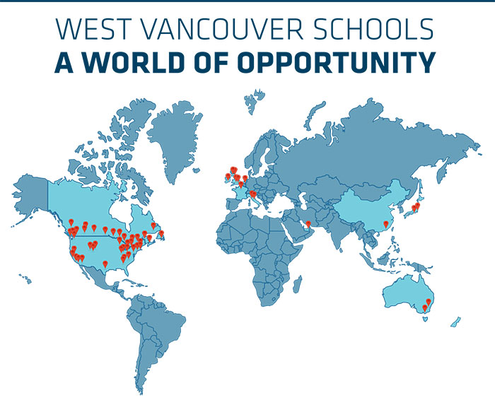 West Vancouver Schools graduates will be attending more than 120 post-secondary institutions around the world.